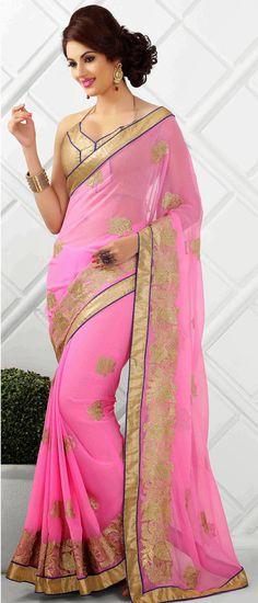 USD 47.03 Light Pink Pure Chiffon Party Wear Saree 44839
