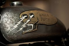 Custom BSA 'Lazer Death' from Maxwell Paternoster/Corpses From Hell Custom Harleys, Custom Motorcycles, Custom Bikes, Cars And Motorcycles, Motorcycle Tank, Retro Motorcycle, Hot Rods, Bike Photography, Cafe Bike