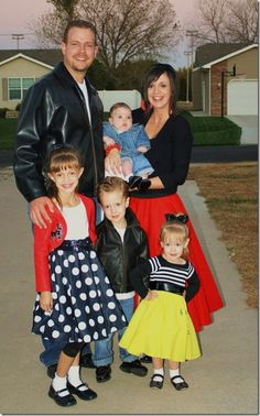 50's Family - Pinned for Kidfolio, the parenting mobile app that makes sharing a snap. #costumes #halloween