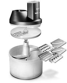 Grate vegetables, fruit, and cheese with this Bamix food processor attachment. Made from plastic, it is durable and long lasting. The blades are made from stainless steel and feature a slicer and a coarse grater.