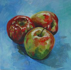 Original acrylic painting of three beautiful red and green apples