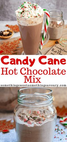 This Candy Cane Hot Chocolate mix takes no more 5 minutes to make! It's a perfect homemade Christmas gift for a mint chocolate fan. Easy Christmas Treats, Christmas Sprinkles, Christmas Drinks, Homemade Christmas, Christmas Gifts, Christmas Cooking, Christmas Goodies, Easy Holiday Recipes, Great Recipes