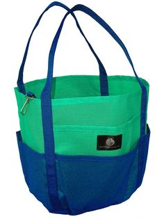 Saltwater Canvas Mesh Dolphin Bag, 7 pockets, Medium Beach Tote, gym, Green Navy *** For more information, visit image link. (This is an Amazon Affiliate link and I receive a commission for the sales)