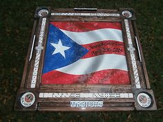 Domino Tables by Art with Puerto Rican Flag and Your Name!