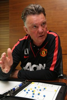@manutd manager Louis van Gaal talks tactics during an interview at the Aon Training Complex.