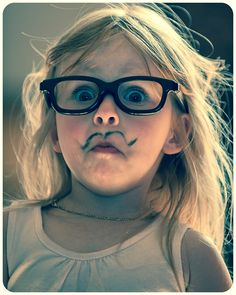 Funny, Mustache, child, cute, hipster, girl, portrait