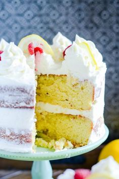 A rich lemon cake that tastes incredible with lemon cream cheese frosting and your favorite berries!