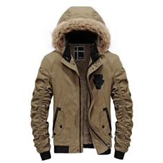 Willow S Mens Warm Hooded Cotton Jacket Casual Loose Solid Color Pocket Plus Thick Large Fur Collar Coat Pullover