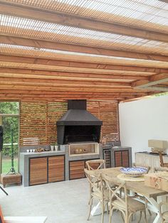 An outdoor kitchen can be an addition to your home and backyard that can completely change your style of living and entertaining. Outdoor Kitchen Cabinets, Outdoor Kitchen Design, Outdoor Kitchens, Outdoor Rooms, Outdoor Dining, Outdoor Decor, Parrilla Exterior, Bbq Area, Kitchen Remodel