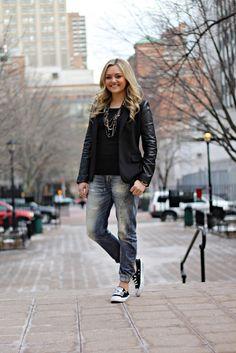 leather sleeve blazer boyfriend jeans converse sneakers