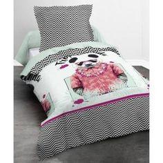 TODAY HAPPY Parure de couette Panda 100% coton - 1 housse de couette 140x200cm + 1 taie 63x63cm blanc, noir et rose