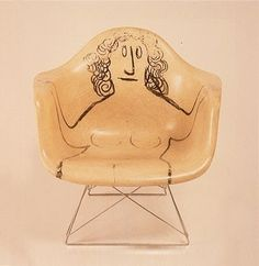 Eames chair with drawing by Saul Steinberg, 1950 | AnOther Loves