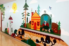 We love this colorful, imaginary world mural in Mattel Children's Hospital UCLA - a project designed by Mattel and Blik.