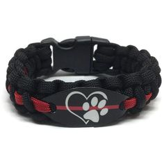 Firefighter Dog Lover Thin Red Line Paracord Bracelet Paw Print Image Outline Heart Show your love for the firehouse dog with a paracord bracelet. They love us unconditionally and deserve respect. This is item is perfect for a dog lover, pet lover, or animal rights activist. This durable 550 Paracord wristband is wate