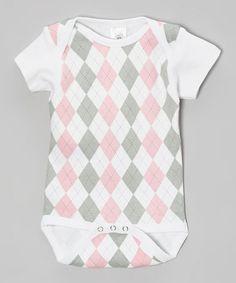 Loving this Pink Argyle Bodysuit on #zulily! #zulilyfinds