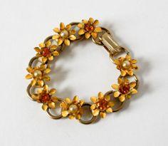 Vintage Child Size Flower Bracelet Yellow by TempleKatVIntage, $8.00