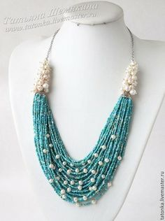 Would use real turquoise rather than seed beads, but design is lovely. Beaded Necklace Patterns, Beaded Jewelry Designs, Jewelry Patterns, Necklace Designs, Beaded Bracelets, Seed Bead Necklace, Seed Bead Jewelry, Pearl Jewelry, Jewelery