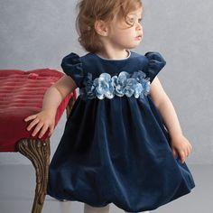 Biscotti ネイビーのベルベットバルーンワンピース(トドラーサイズ) - 輸入子供服・ドレス・ワンピースのお店 coppa