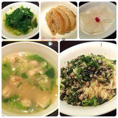 十三香兩人晚餐:雪菜肉末乾麵、餛飩鮮雞湯、小菜。#Dinner for 2:Noodles with brassica & pork,chicken soup with dumplings #Taiwan #food