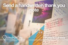 Offer kindness by sending a handwritten thank you note. #couchsurfing #offerkindness