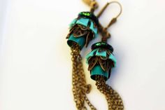 Floral Earrings  Turquoise Aqua Forest Green  by MySelvagedLife