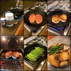 Tonight's Dinner!  Learning to love my cast iron skillet!!! 1⃣ coconut oil, Himalayan salt and pepper 2⃣ heat skillet to medium high with 1 tbsp coconut oil and add in bone in pork chops 3⃣ cook on each side for 3 minutes 4⃣ put in oven at 350 for a few minutes or until asparagus is done 5⃣ drizzle asparagus with olive oil, Himalayan salt, pepper and garlic and cook on medium until tender  Delicious!!!!
