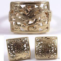 MING'S PHOENIX & BIRD IN PLUM SQUARE 14K YELLOW GOLD RING & CLIP EARRINGS SET #MingsHawaii