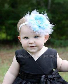 Vintage Aqua and White Shimmer Hair Clip or Headband
