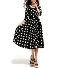Womens Chiffon Dress Sexy Casual 3/4 Sleeve Round Neck Dots Black Size 12 by wise mall, http://www.amazon.ca/dp/B00H43R72U/ref=cm_sw_r_pi_dp_9dIVsb0HWEG3Q