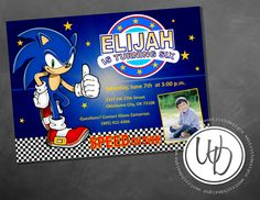 Sonic the Hedgehog boy birthday invitation by Wentroth Designs. Visit us on Facebook to request a price quote on items for any upcoming event - birthdays, weddings, showers, parties and more!