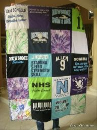 T-Shirt Quilt. I plan on making each one of my kids one of these one day. Im already saving all of their school shirts, ball shirts, cheerleading shirts, etc. =) Such a cool graduation gift for them to take to college @Marina Zlochin