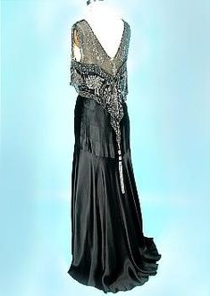 c. 1930's Black Silk Charmeuse Bias Cut Gown with Beaded Net Bodice! Museum Deaccession!