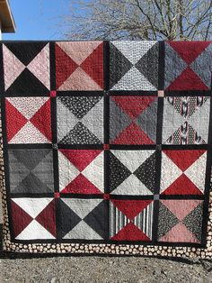 Grey, Black and Red Quilt