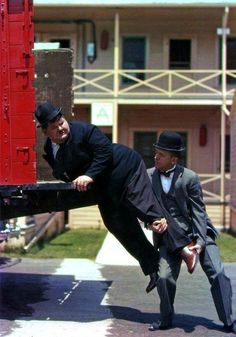 Rare colour image of Laurel and Hardy