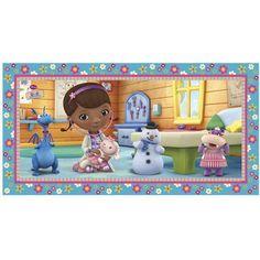 Een grote plastic poster met de figuren uit de leuke kinderserie Doc de Speelgoeddokter. Leuk om op te <br>\r<br>hangen tijdens een kinderfeestje of gewoon voor aan de wand in de slaapkamer. Afmeting: 150x77cm.   foto 1