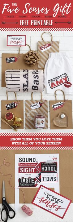 LOVE this Valentine's Day gift idea! It's so unique and romantic! You pick a gift that appeals to each of their senses - sight, taste, smell, touch, sound - and now you can add the cute gift tags on this 5 Senses Gift Free Printable!