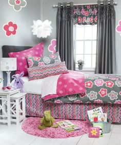 Addison Bedding (Pink and Gray Floral and Chevron Bedding) A wonderful mix of textured white velvet and  unique 100% cotton prints in vibran...
