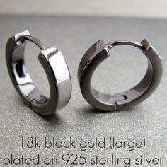 Men's black gold earrings