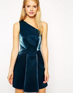 ASOS   ASOS One Shoulder Metallic Prom Dress at ASOS