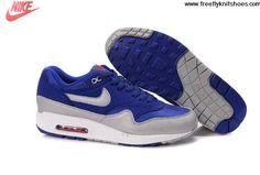 Sale Discount Mens Nike Air Max 1 Deep Royal Blue Sail Team Orange Granite Shoes Sports Shoes Shop