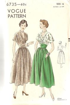 1940s Vintage Sewing Pattern V Neck Dress Vogue by CherryCorners, $50.00