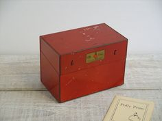 Vintage Red Metal Polly Prim Recipe Box ~ Retro Kitchen Index Card Storage Container ~ Rustic Recipe Holder Cabinet by RetrOAmyO on Etsy