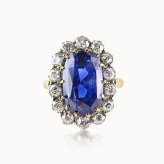 VICTORIAN SAPPHIRE AND DIAMOND CLUSTER RING