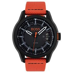 Inspired by bold style, this BOSS watch features a woven textile strap and layered dials for chic, sporty daywear. Montres Hugo Boss, Hugo Boss Homme, Bold Fashion, Dog Tags, Omega Watch, Hong Kong, Watches For Men, Sporty, Chic