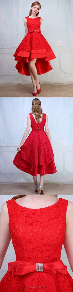 High Low Prom Dresses Red, Sexy Party Dresses A-line, Scoop Neck Girls Formal Dresses Lace Silk-like, Satin Evening Gowns Asymmetrical Modest