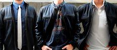 Leather Cycle Jacket styles    Wilson's black rivet cycle jacket $249