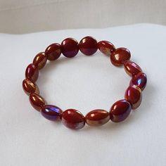 Bekijk dit items in mijn Etsy shop https://www.etsy.com/nl/listing/552149248/armband-red-grenadine-elastiek-rood