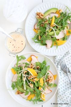 Salade gerookte kip, mango en avocado - Mind Your Feed, Salad Recipes, Healthy Recipes, Healthy Food, Clean Eating Dinner, Light Recipes, Main Dishes, Food Porn, Good Food, Food And Drink