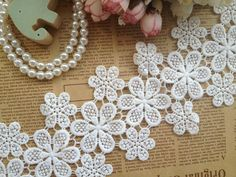 Cotton Lace Trim for Crafts Sewing Accessories  White  Embroidered Lace Trim  9.5cm Width 10yards/Lot     US $22.99