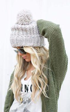 #fall #fashion / green knit + beanie